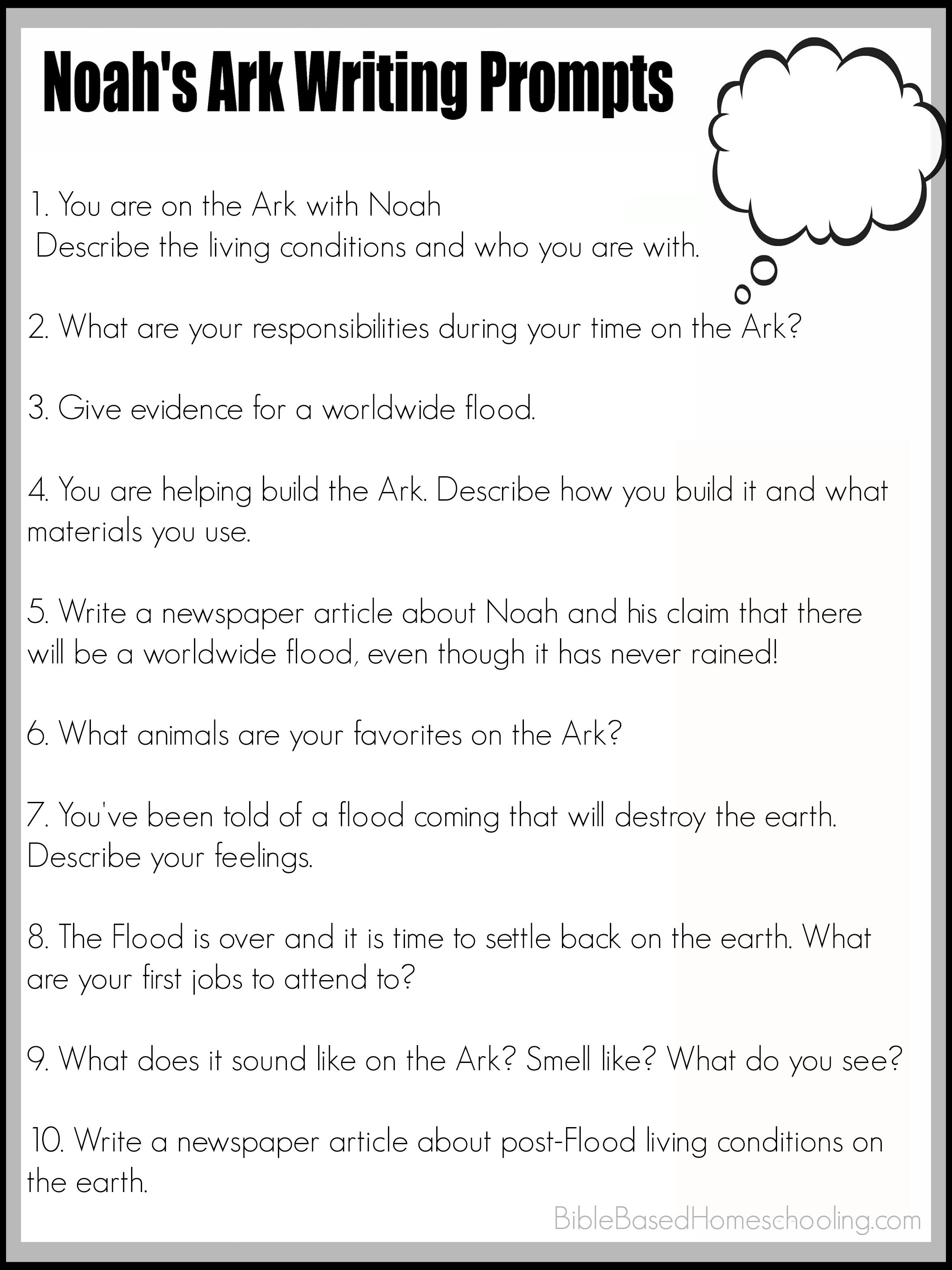 Free Printable Noah's Ark Writing Prompts | Ultimate Homeschool - Free Printable Sunday School Lessons For Youth