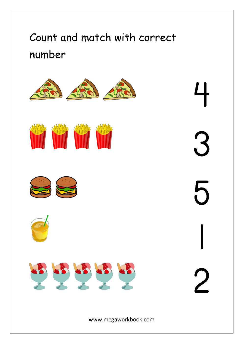 Free Printable Number Matching Worksheets For Kindergarten And - Free Printable 5 W's Worksheets