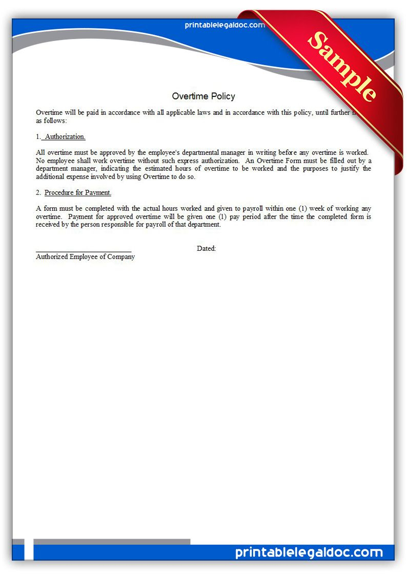 Free Printable Overtime Policy Legal Forms   Free Legal Forms - Free Legal Forms Online Printable