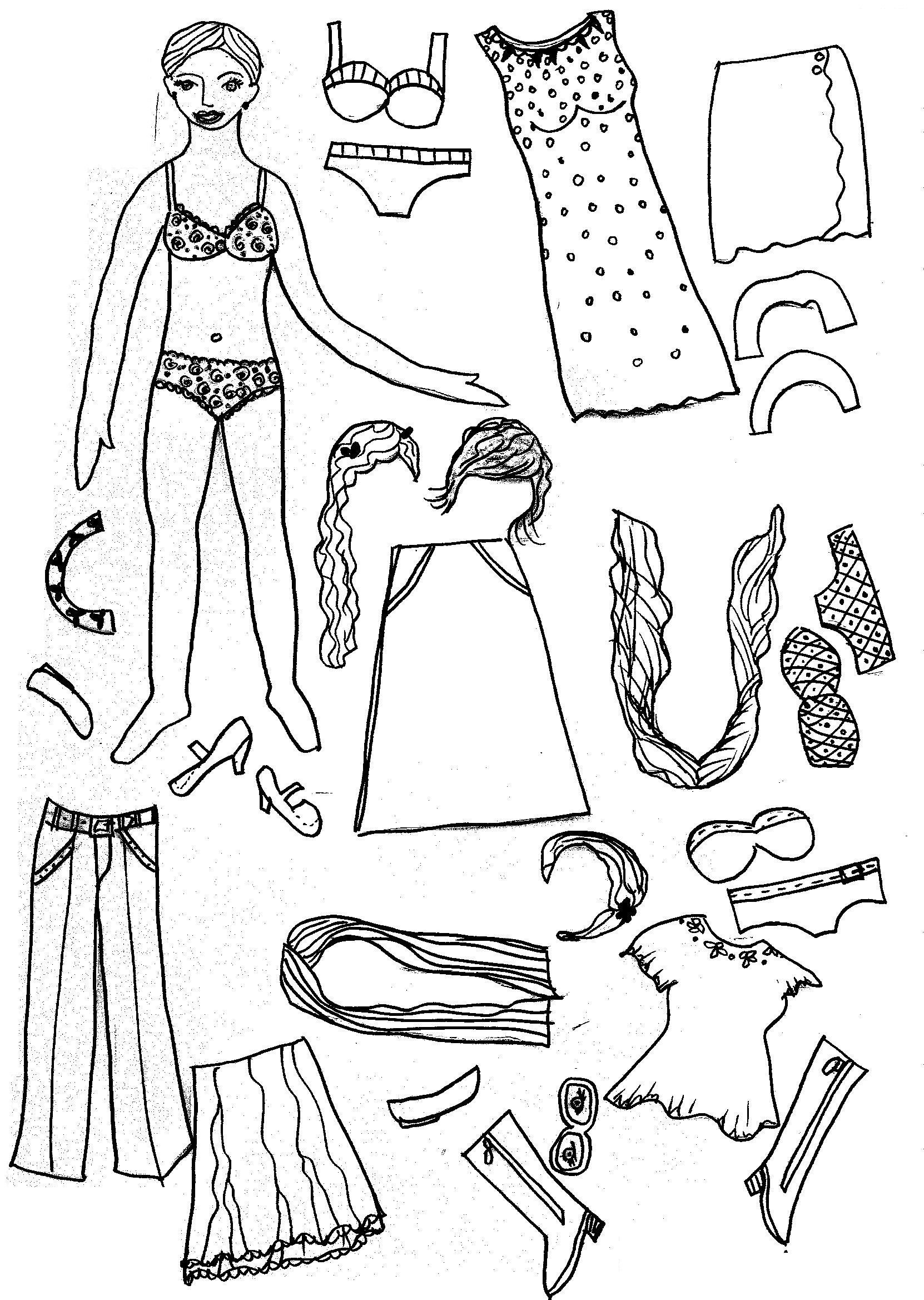 picture regarding Free Printable Paper Dolls Black and White called No cost Printable Paper Doll Coloring Web pages For Small children Pertaining