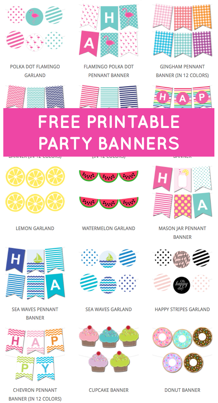 Free Printable Party Banners From @chicfetti | 3Th Birthday Party Theme - Diy Birthday Banner Free Printable