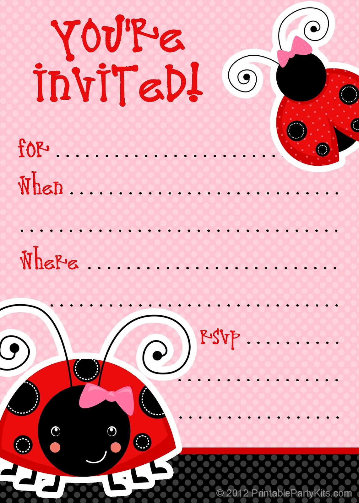 Free Printable Party Invitations: Free Ladybug Invite Template - Free Printable Ladybug Baby Shower Invitations Templates