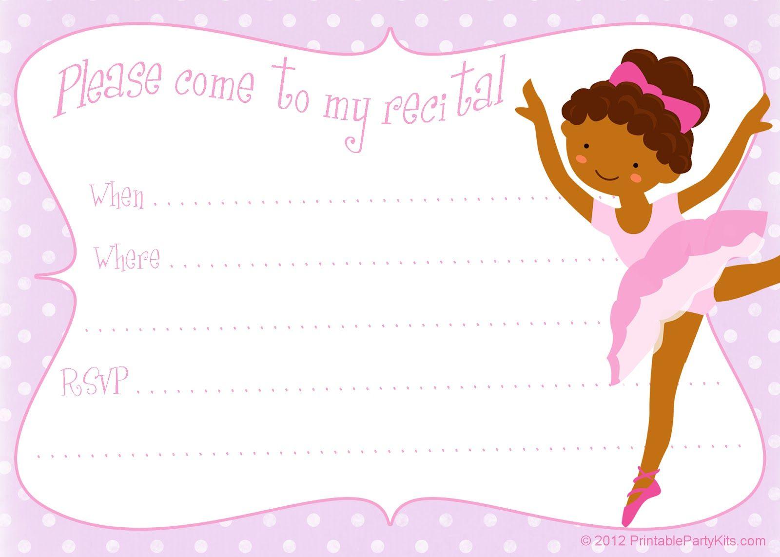 Free Printable Party Invitations: Printable Dance Recital - Free Printable Dance Recital Cards