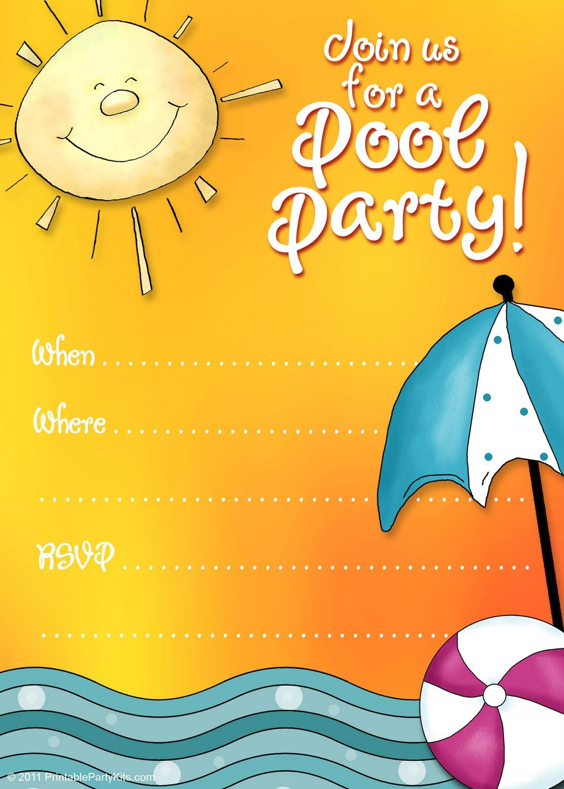 Free Printable Party Invitations: Summer Pool Party Invites - Free Printable Pool Party Birthday Invitations