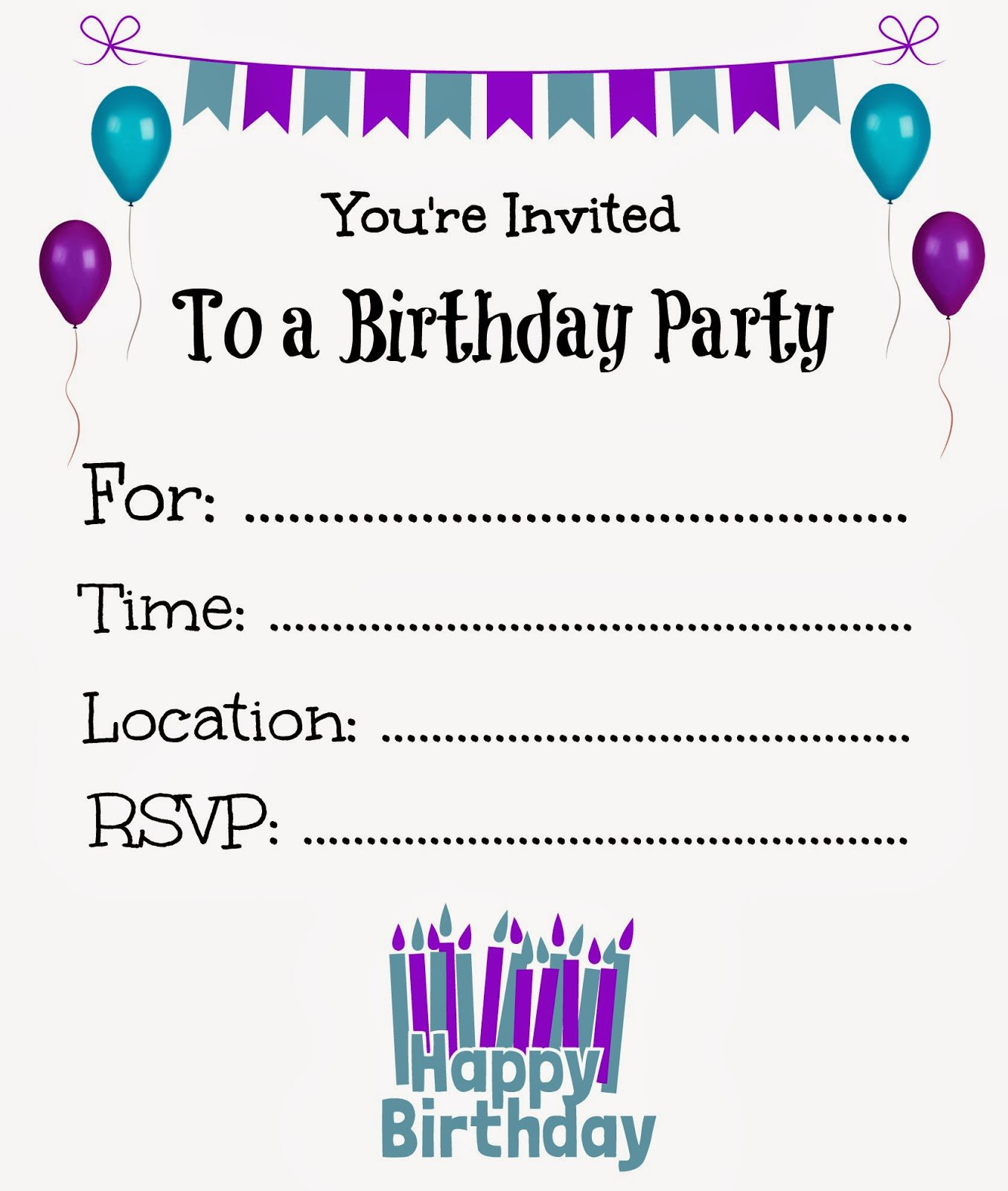 Free Printable Party Invites Templates Free Birthday Invitations - Make Your Own Birthday Party Invitations Free Printable