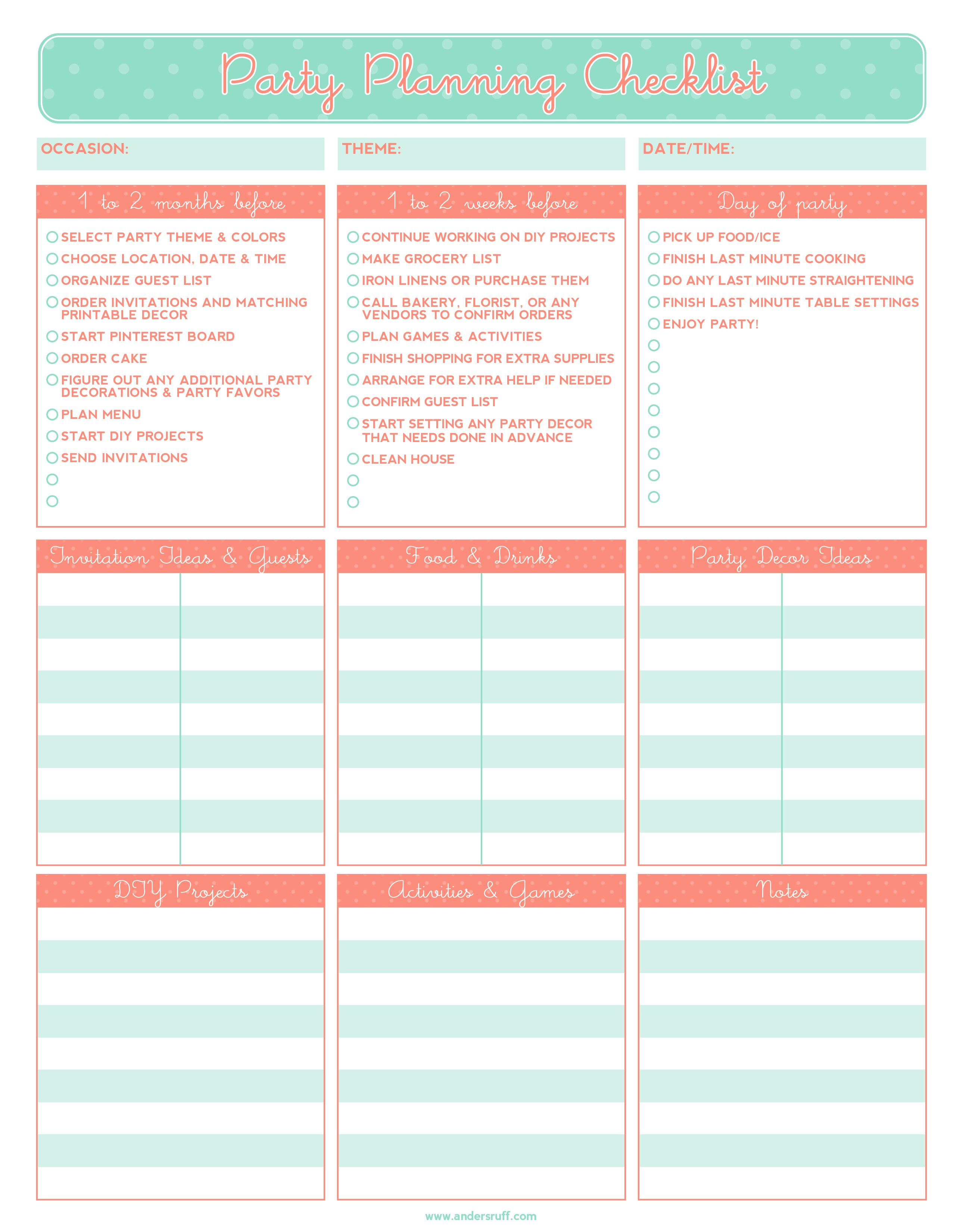 Free Printable Party Planning Checklist   It's The Little Things - Free Printable Birthday Guest List
