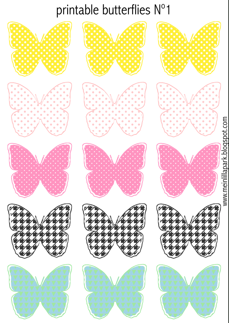 Free Printable Pastel Colored Butterflies - Schmetterling - Free Printable Butterfly