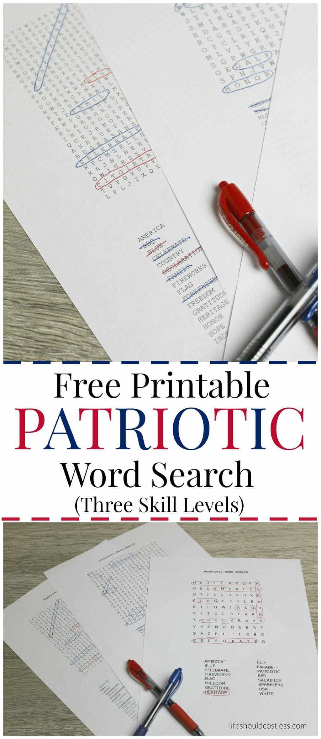 Free Printable Patriotic Word Search (With Three Different Skill - Free Printable Patriotic Writing Paper