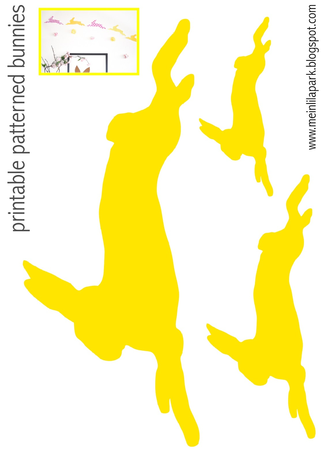 Free Printable Patterned Bunny Templates - Ausdruckbare Hasen - Free Printable Bunny Templates