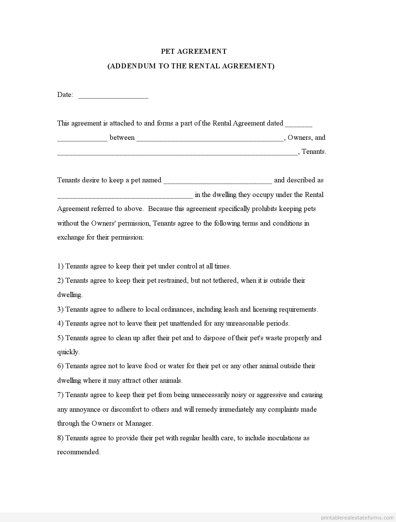Free Printable Pet Addendum Forms -Owners Pet Agreement - Free Printable Pet Addendum