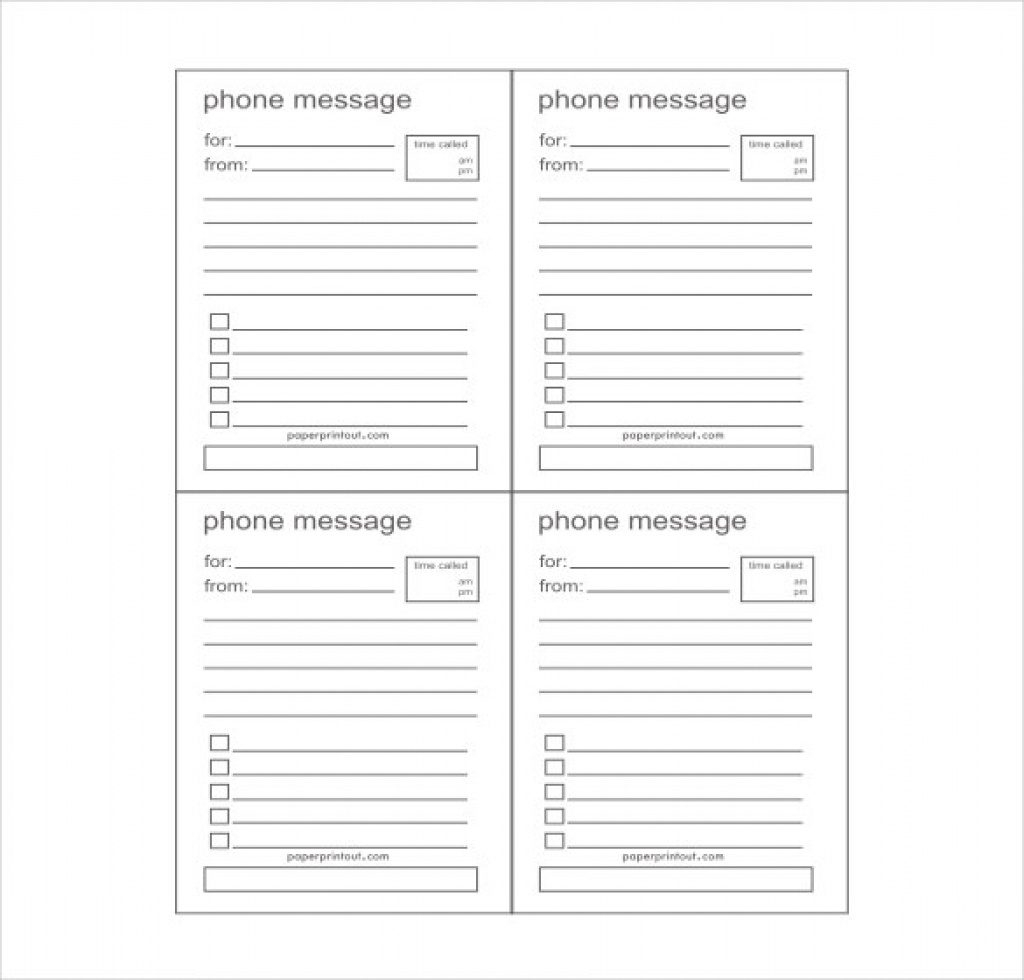Free Printable Phone Message Template | Free Printable - Free Printable Phone Message Template