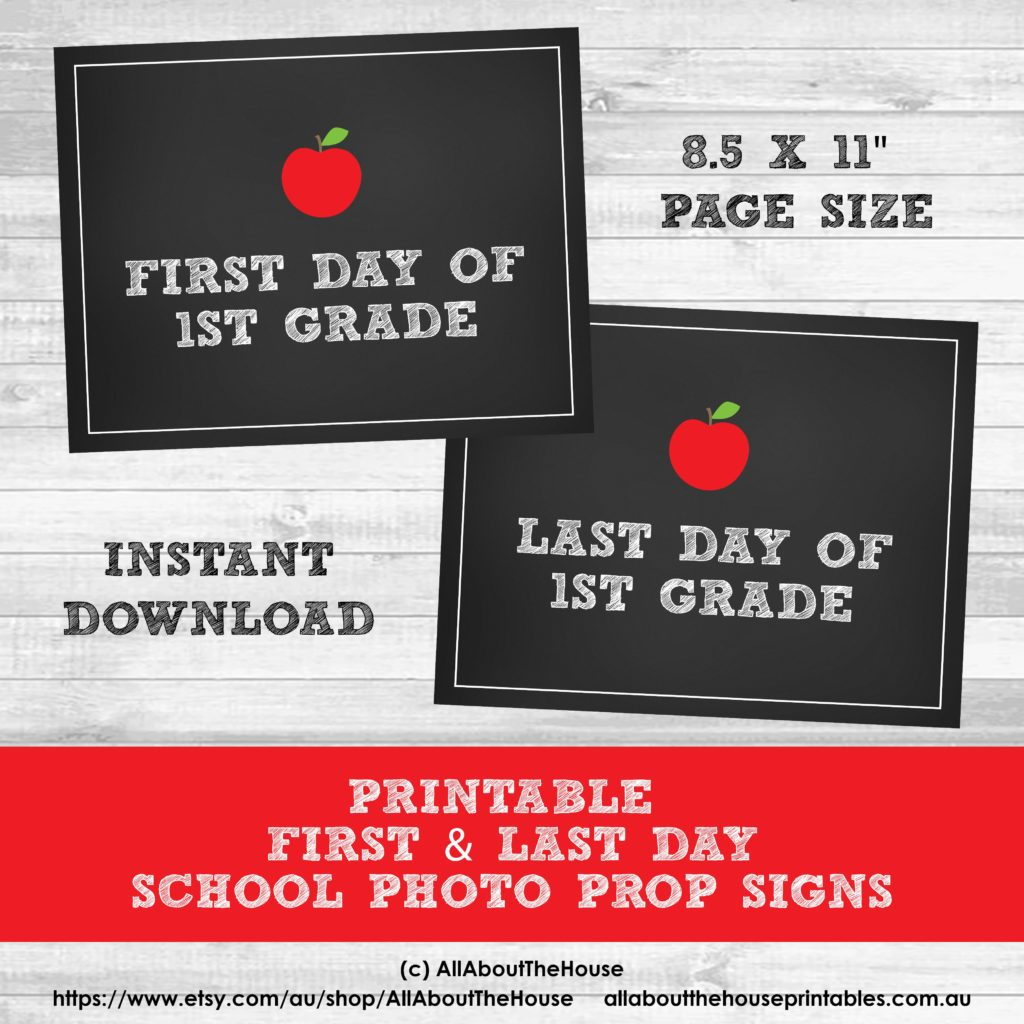 Free Printable Photo Prop Grade Signs For Back To School (First - Free Printable Signs