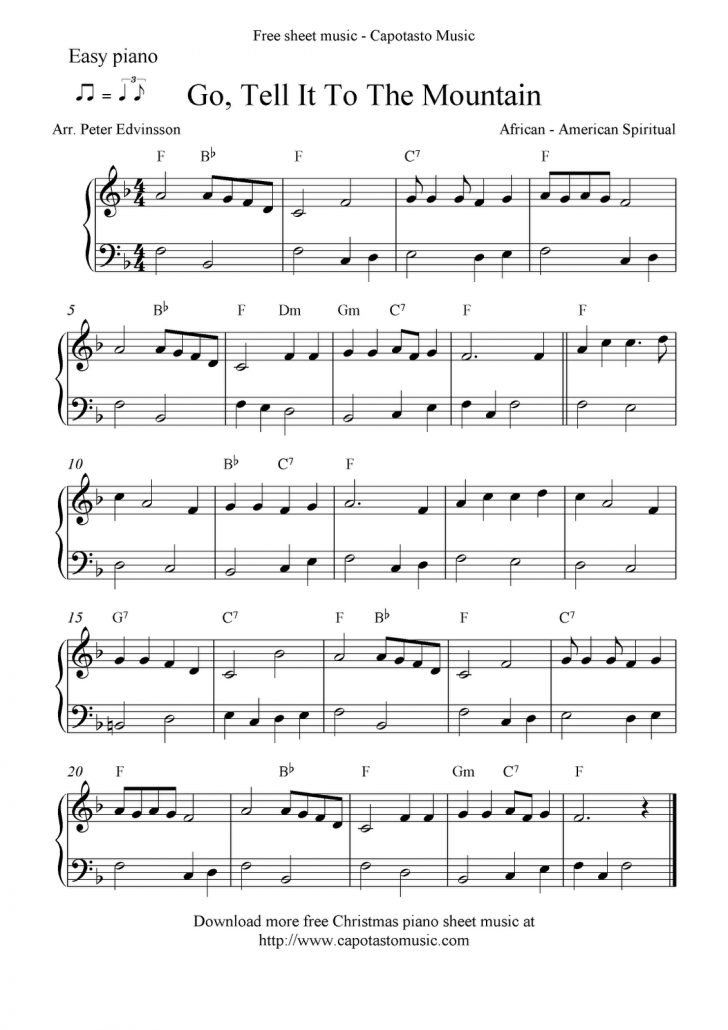 Free Christmas Piano Sheet Music For Beginners Printable