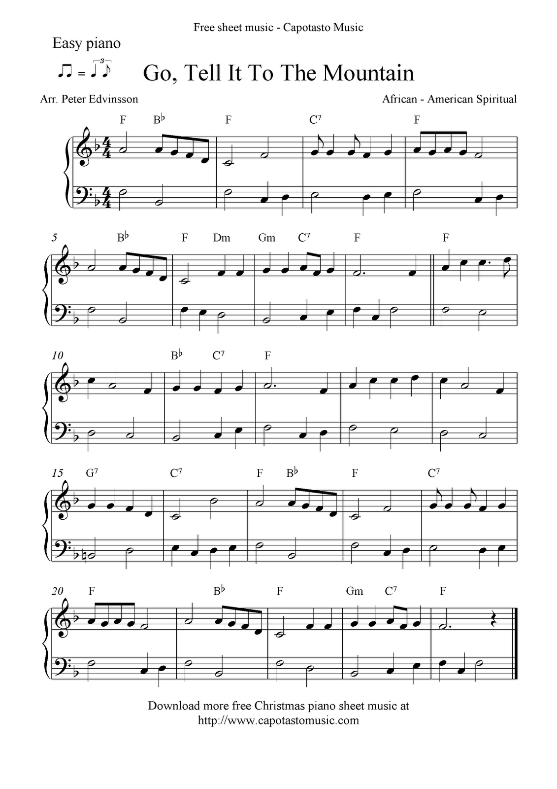 Free Printable Piano Sheet Music | Free Sheet Music Scores: Easy - Free Printable Gospel Sheet Music For Piano