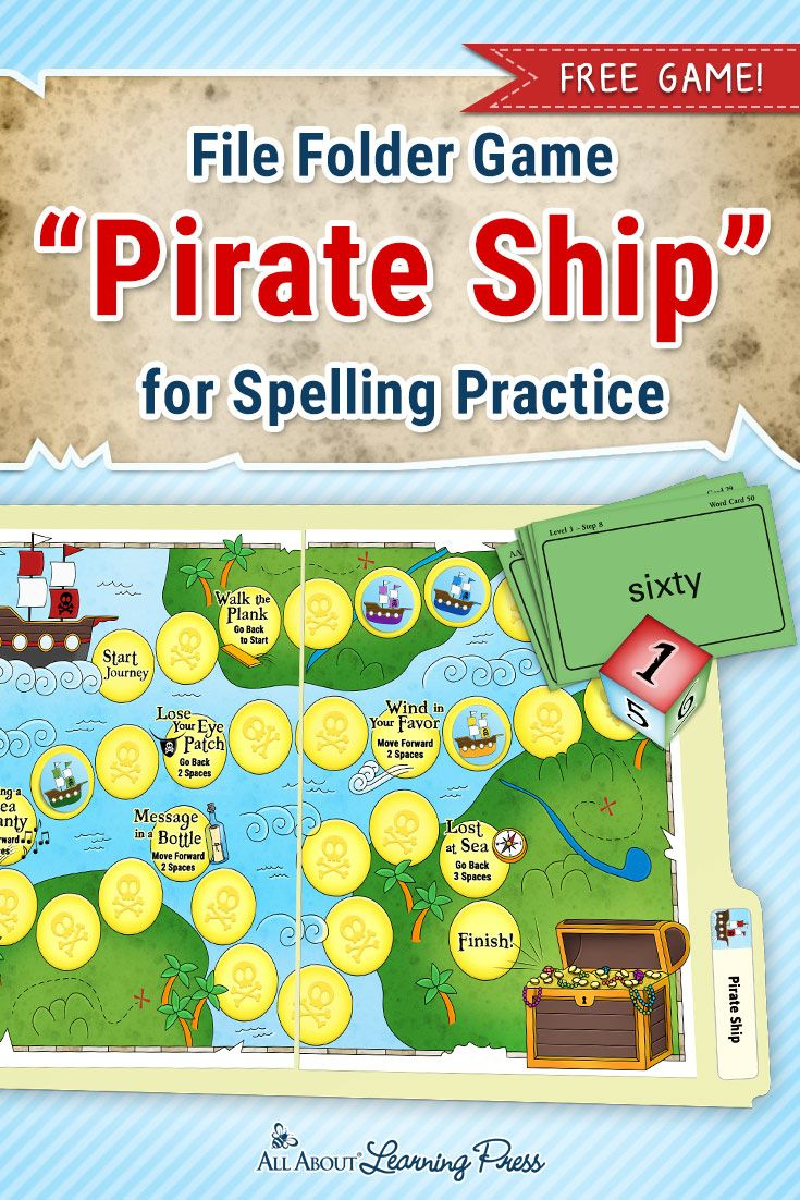 Free Printable Pirate-Themed File Folder Game To Practice Spelling - Free Printable Fall File Folder Games