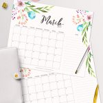 Free Printable Planner   2017 March Calendar With Beautiful   Free Cute Printable Planner 2017