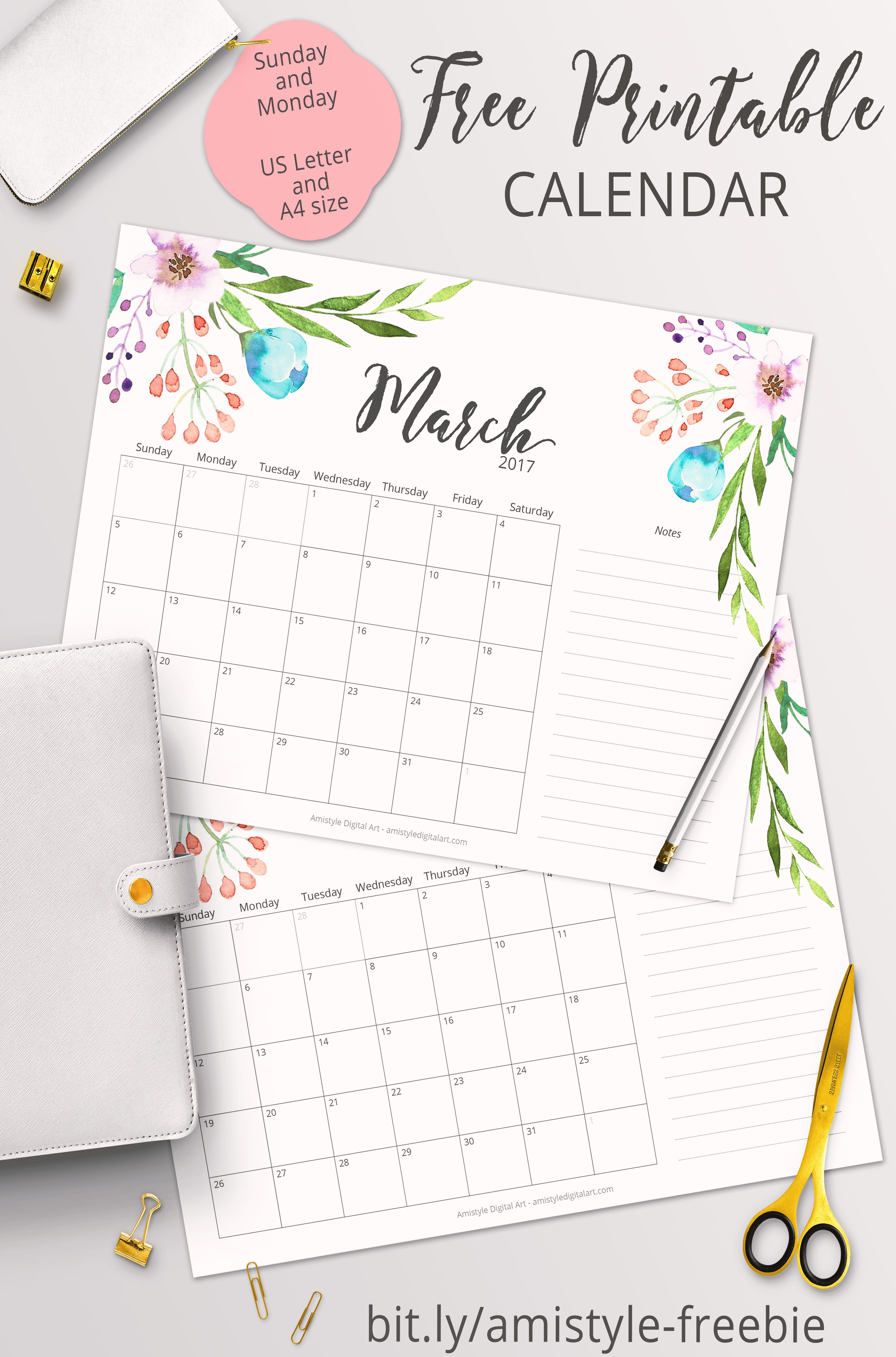 Free Printable Planner - 2017 March Calendar With Beautiful - Free Printable Planner 2017 2018