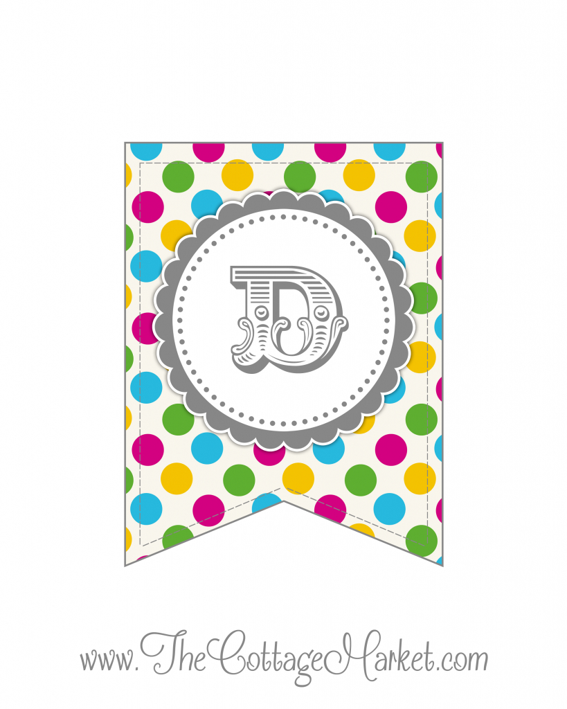 Free Printable Polka Dot Party Banner | The Cottage Market - Free Printable Whole Alphabet Banner