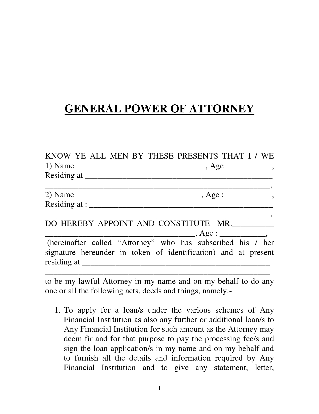 Free Printable Power Of Attorney Form (Generic) - Free Printable Power Of Attorney Forms