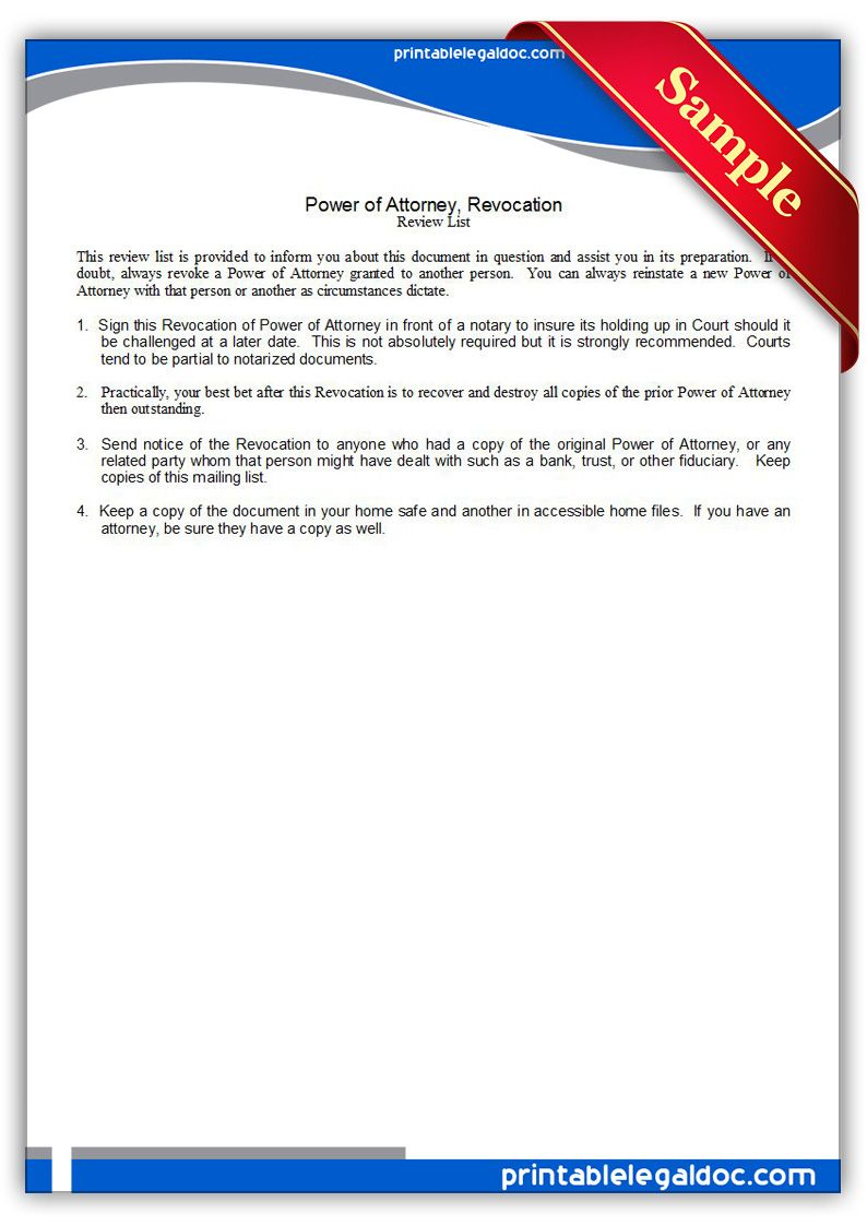 Free Printable Power Of Attorney, Revocation Legal Forms | Free - Free Printable Revocation Of Power Of Attorney Form