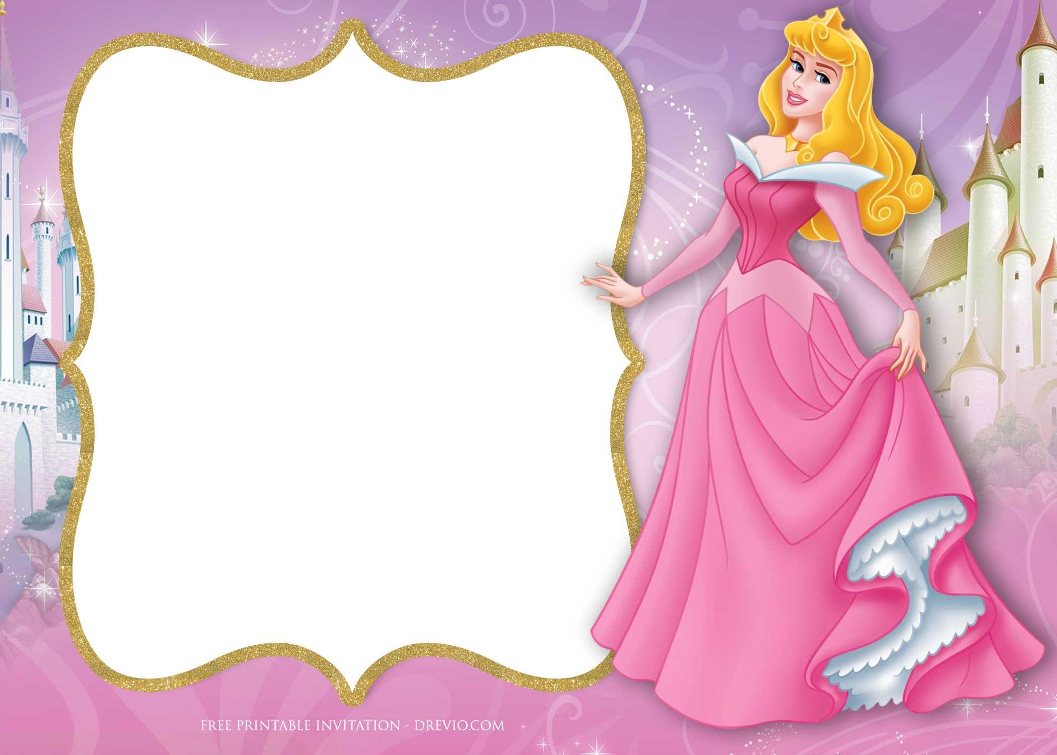 Free Printable Princess Aurora Sleeping Beauty Invitation - Free Printable Princess Invitations