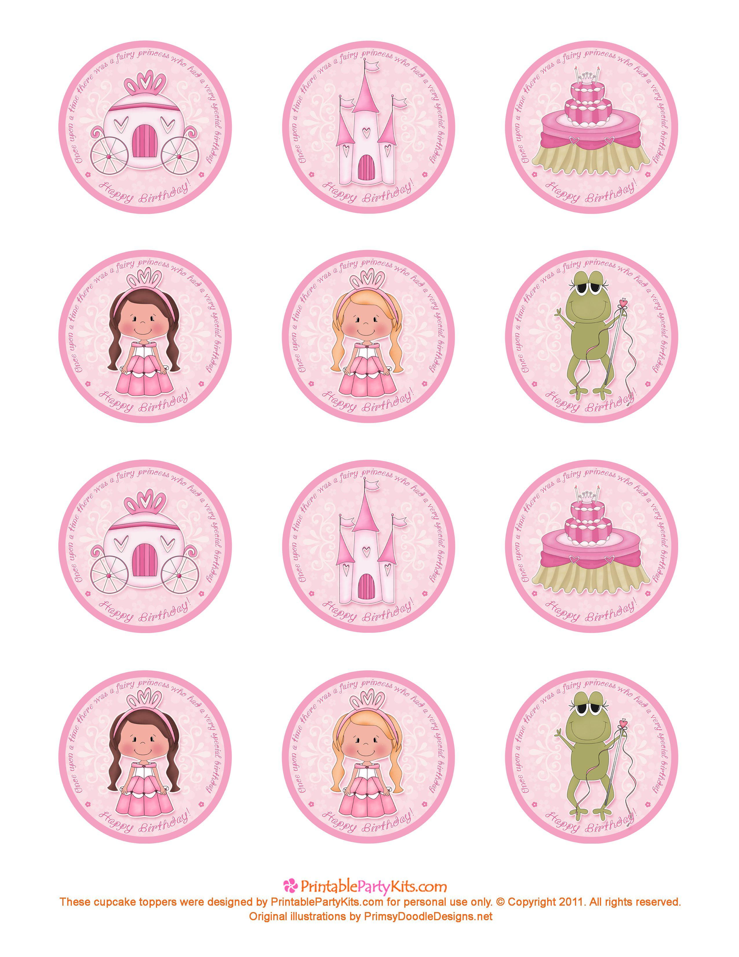 Free Printable Princess Birthday Cupcake Toppers   Printable Party - Free Printable Barbie Cupcake Toppers
