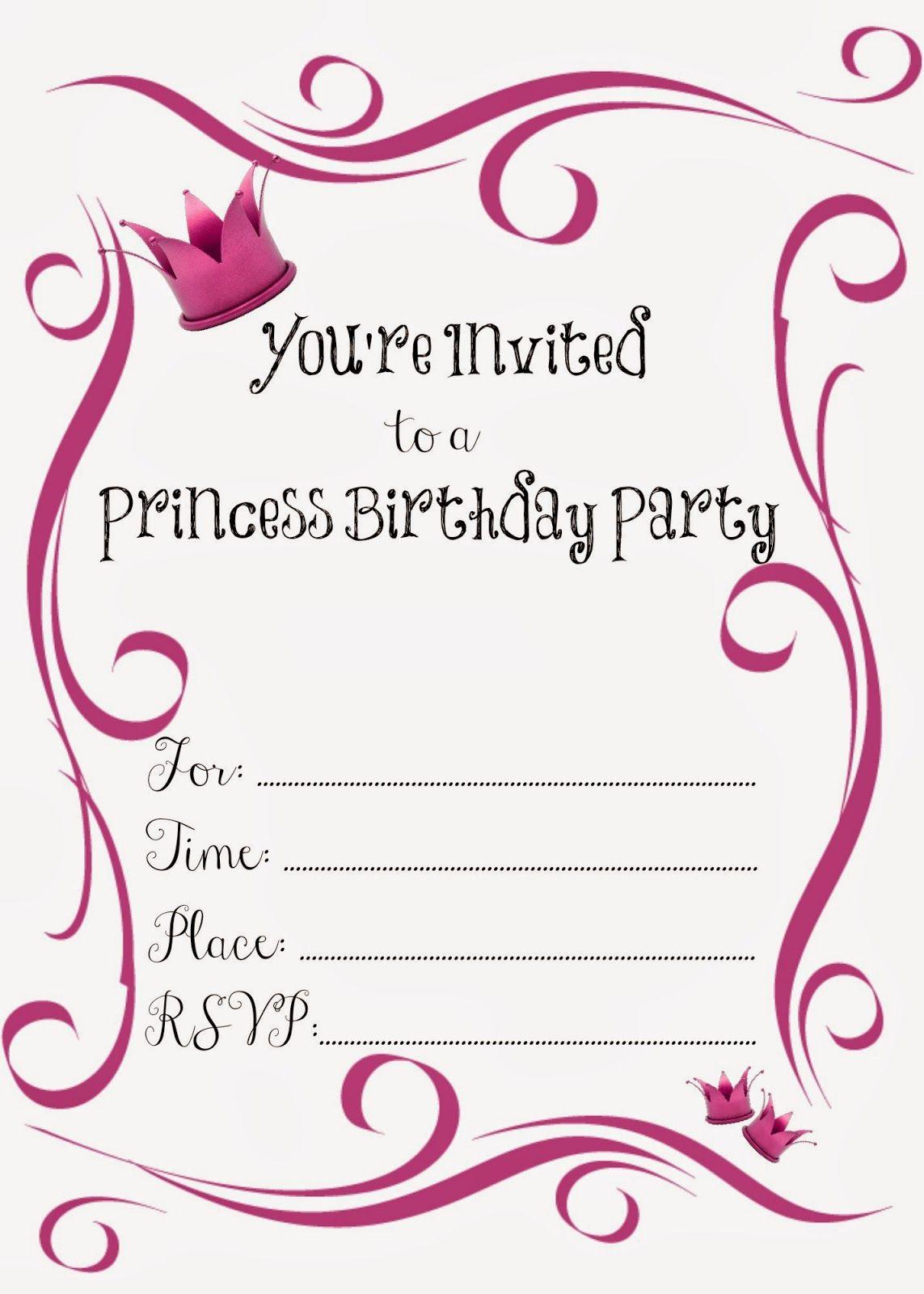 Free Printable Princess Birthday Party Invitations #freeprintables - Free Printable Princess Invitations