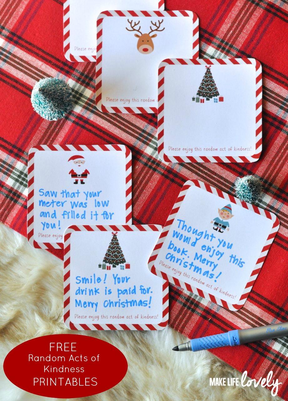 Free Printable Random Act Of Kindness Cards - Make Life Lovely - Free Printable Kindness Cards