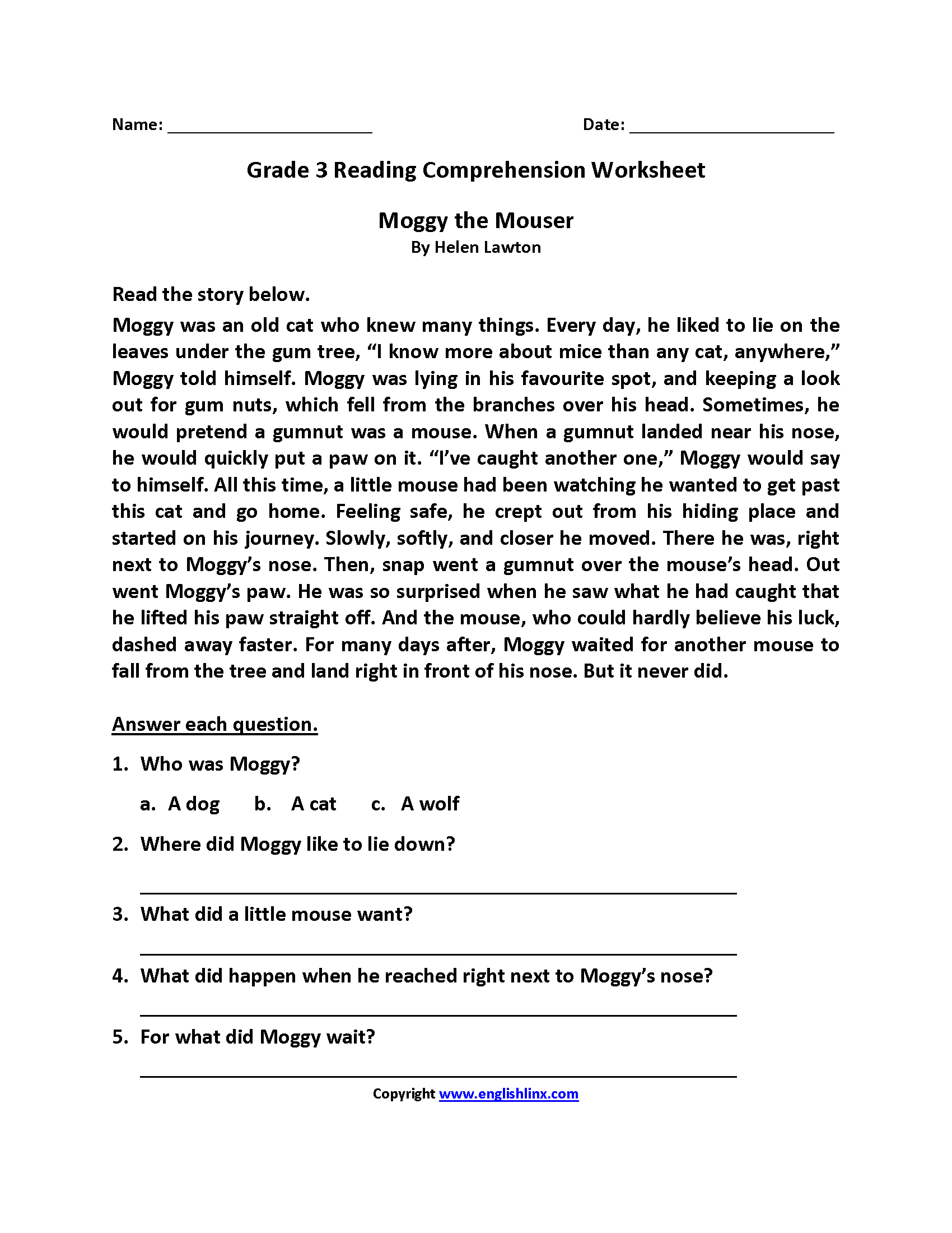 Free Printable Reading Comprehension Worksheets 3Rd Grade To Free - Third Grade Reading Worksheets Free Printable