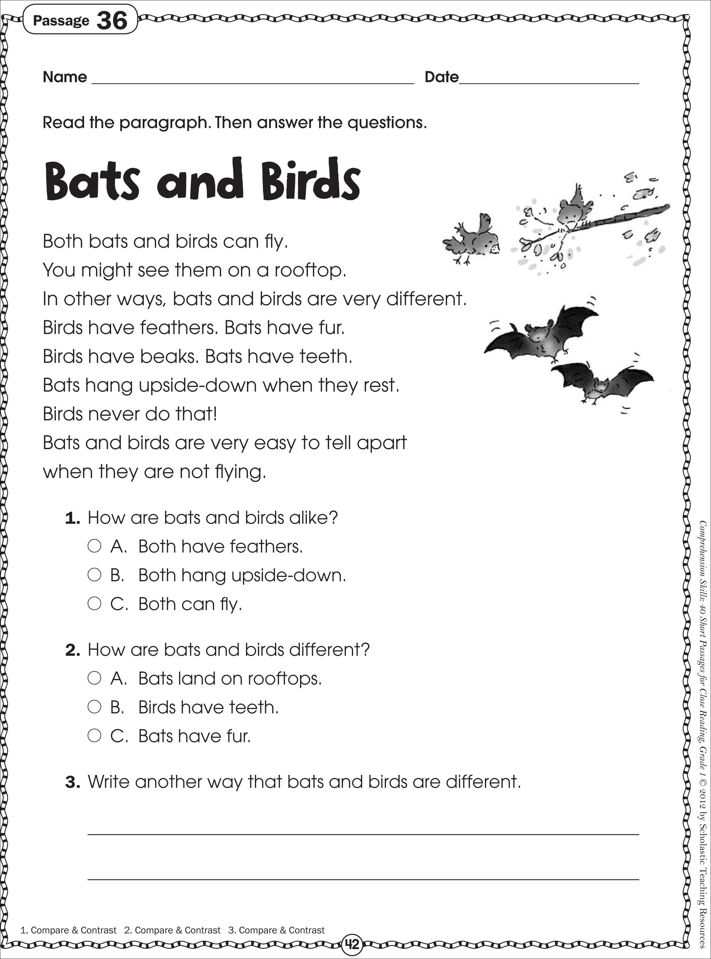 Free Printable Reading Comprehension Worksheets For Kindergarten - Free Printable Short Stories With Comprehension Questions