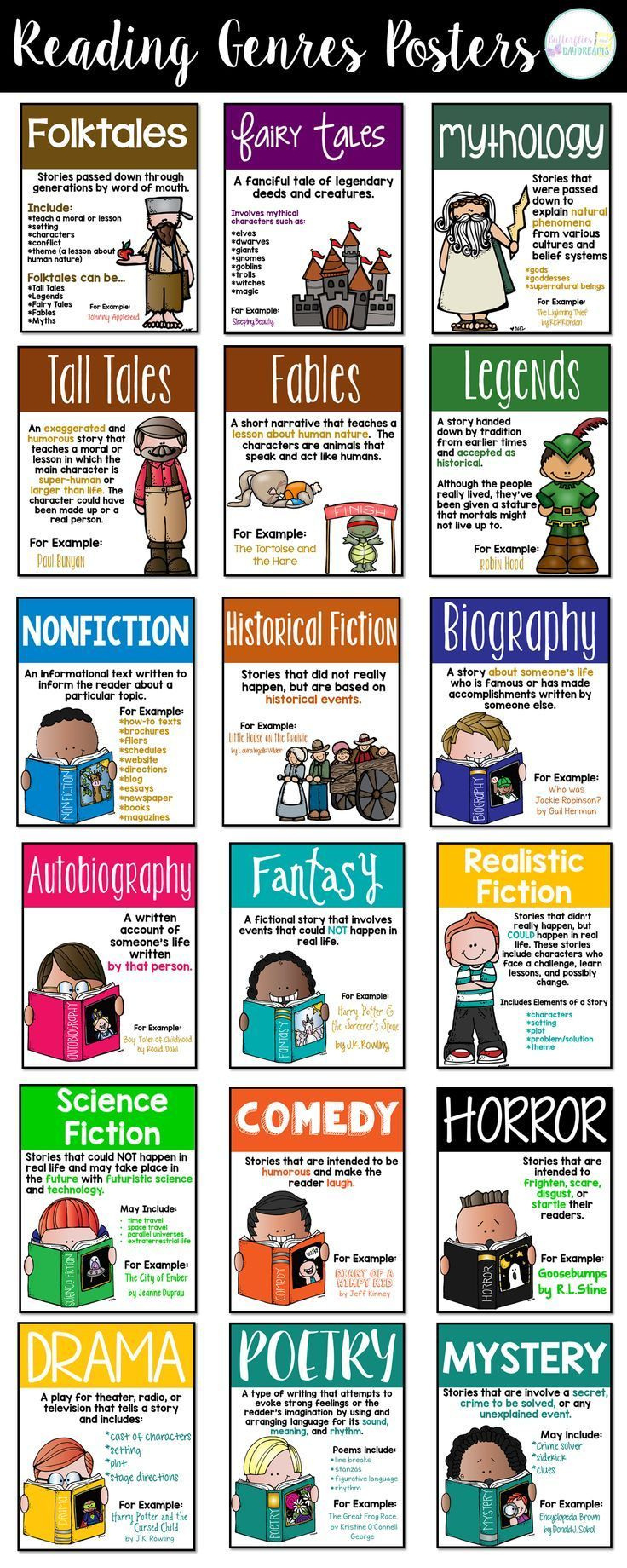Free Printable Reading Genre Posters - Genre Posters Free Printable
