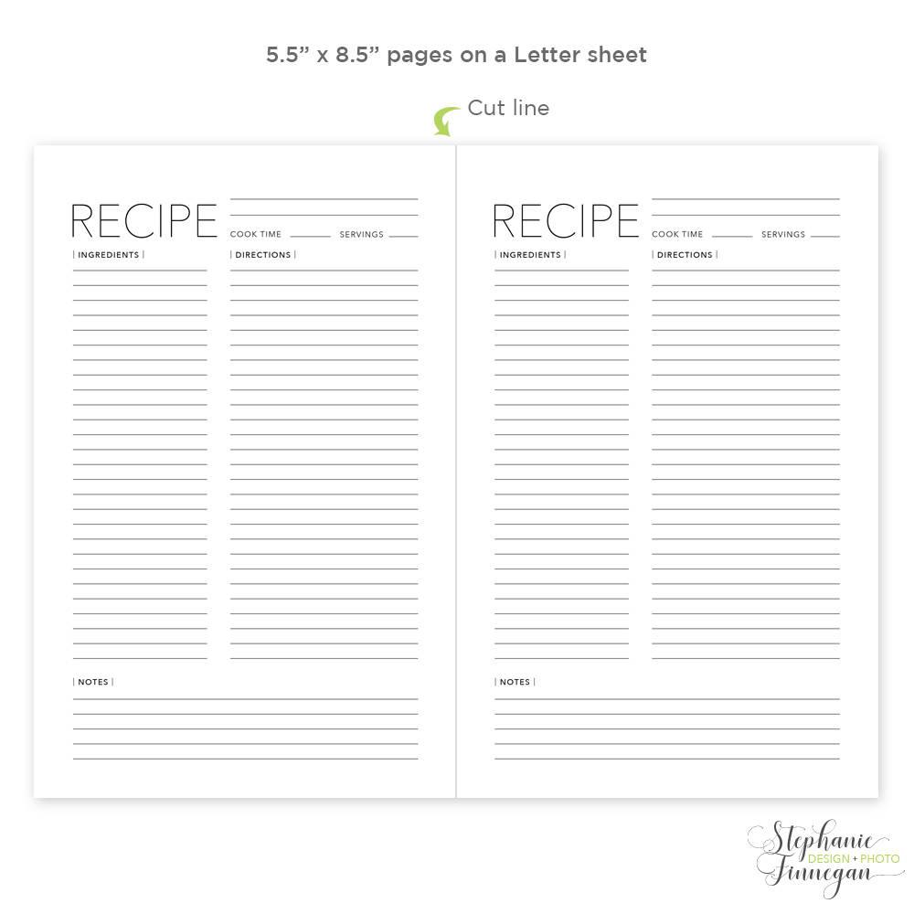 Free Printable Recipe Templates Printable Recipe Page Template Free - Free Printable Recipe Pages