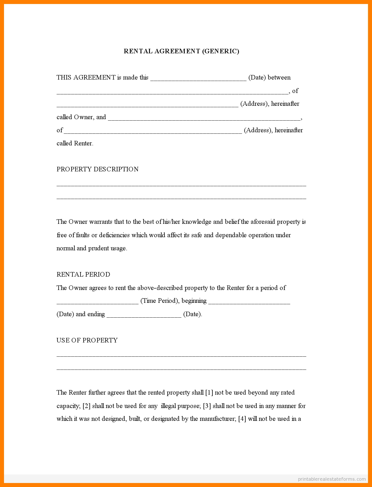Free Printable Rental Agreement Forms | Bestprintable231118 - Free Printable Rental Agreement
