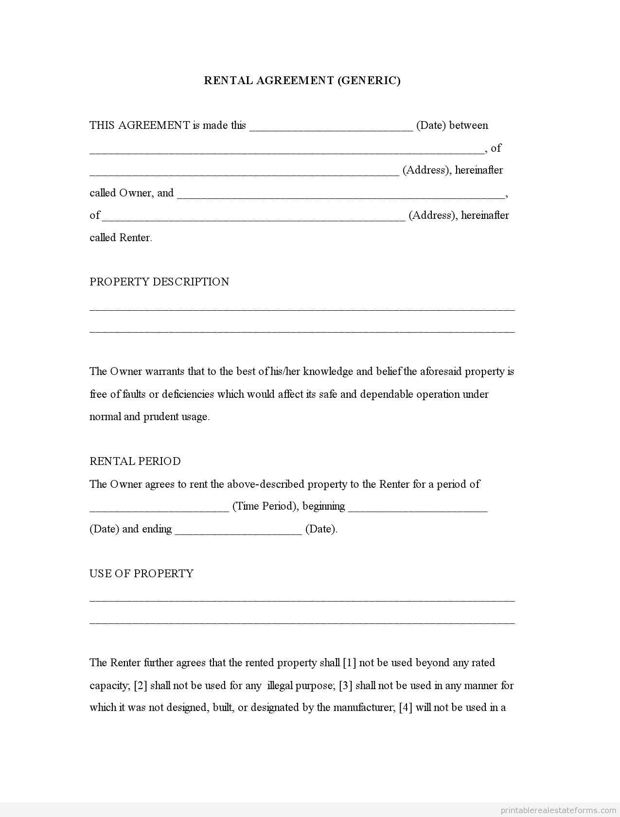Free Printable Rental Agreement | Rental Agreement (Generic)0001 - Free Printable Rental Application Form