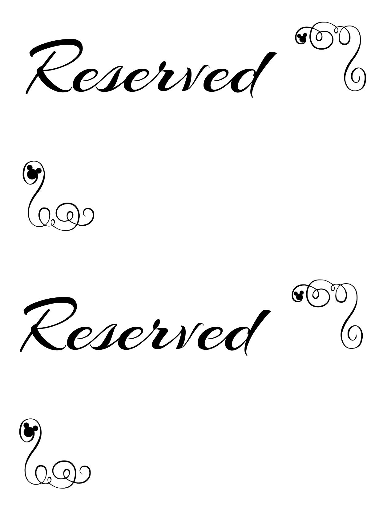 Free Printable Reserved Seating Signs For Your Wedding Ceremony - Free Printable Out Of Service Sign
