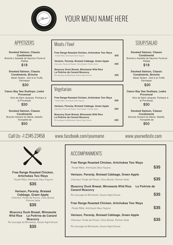 Free Printable Restaurant Menu Templates Resume And - Mysembalun - Free Printable Restaurant Menu Templates