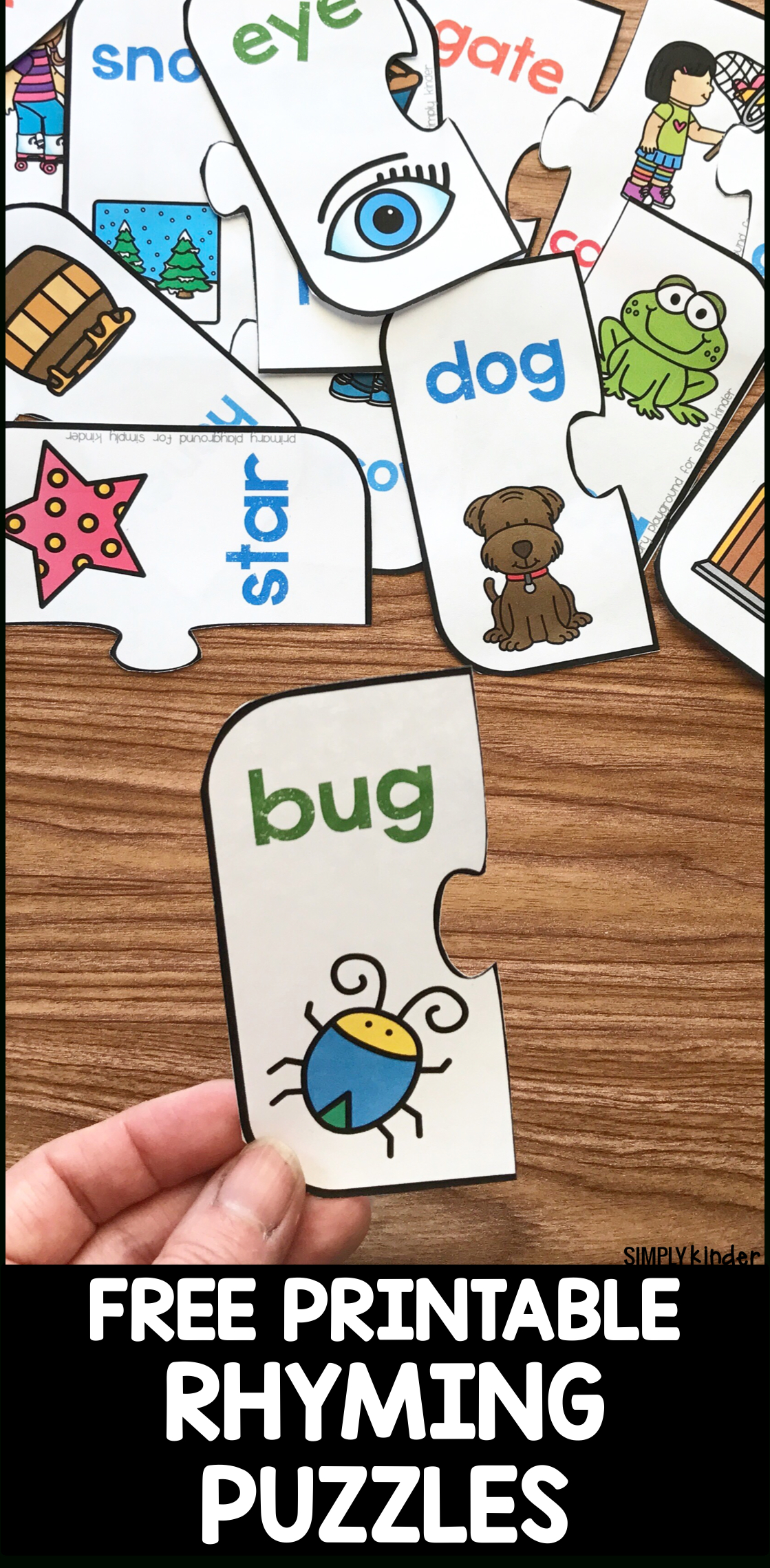 Free Printable Rhyming Puzzles - Simply Kinder - Free Printable Rhyming Activities For Kindergarten