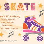 Free Printable Roller Skating Party Invitations | Laylas Birthday   Free Printable Skateboard Birthday Party Invitations
