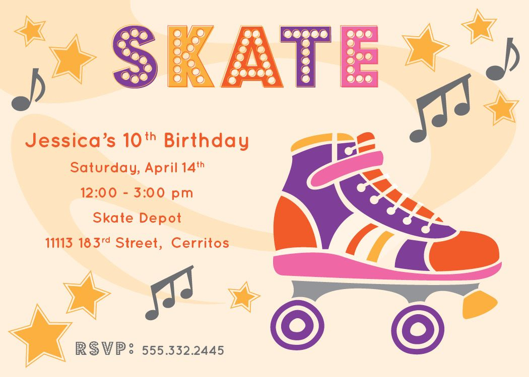 Free Printable Roller Skating Party Invitations | Laylas Birthday - Free Printable Skating Invitations