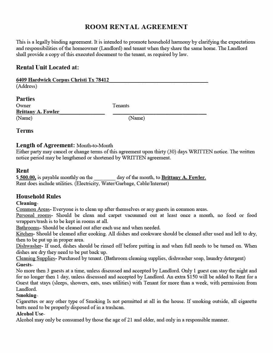 Free Printable Room Rental Agreement Forms Excellent 39 Simple Room - Free Printable Room Rental Agreement Forms