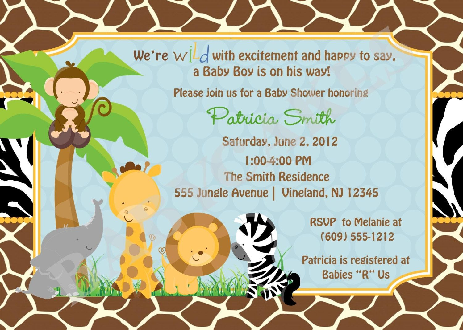 Free Printable Safari Baby Shower Invitations Ba