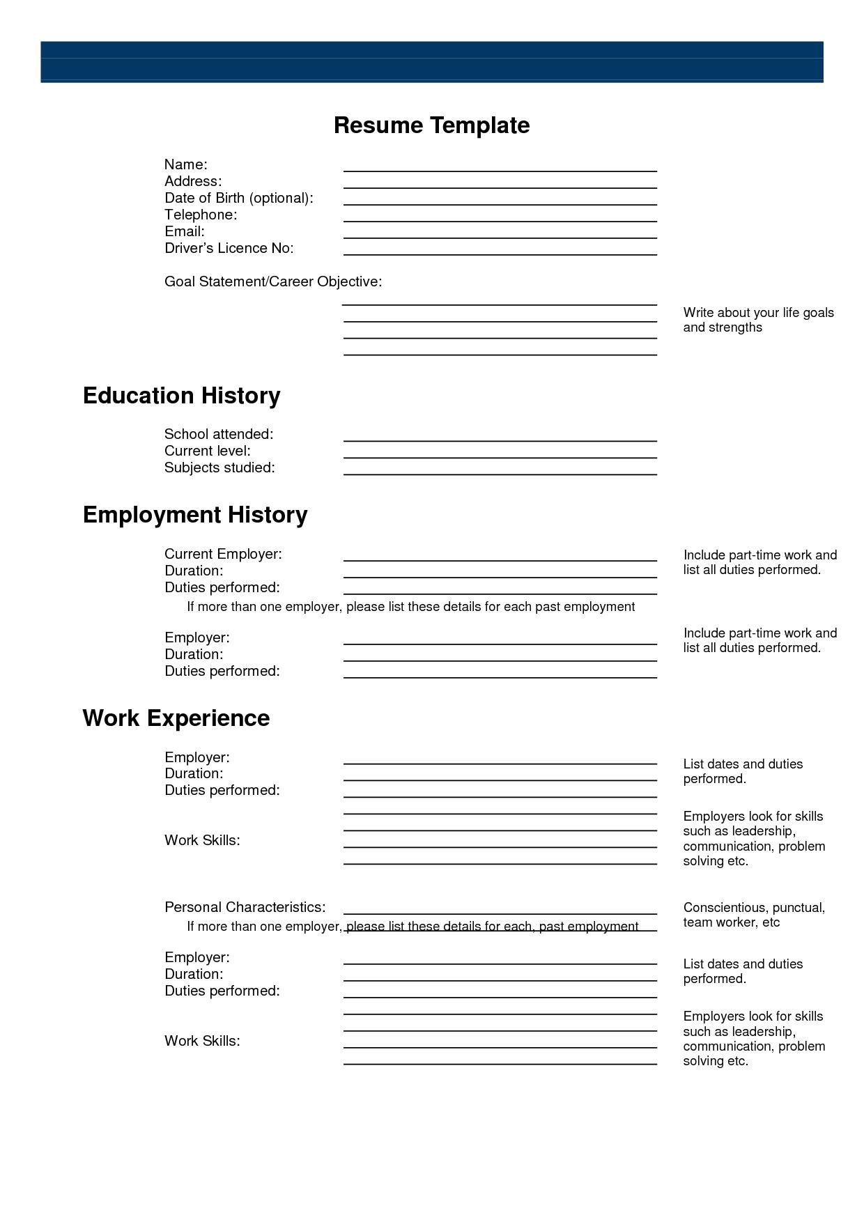 Free Printable Sample Resume Templates Httpwwwresumecareer Free - Free Printable Fill In The Blank Resume Templates