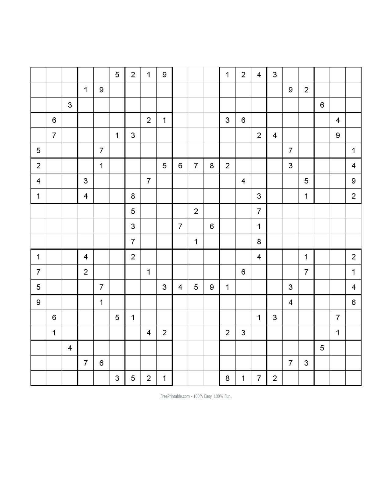Free Printable Samurai Sudoku Puzzles   Sudoku - Free Printable Samurai Sudoku
