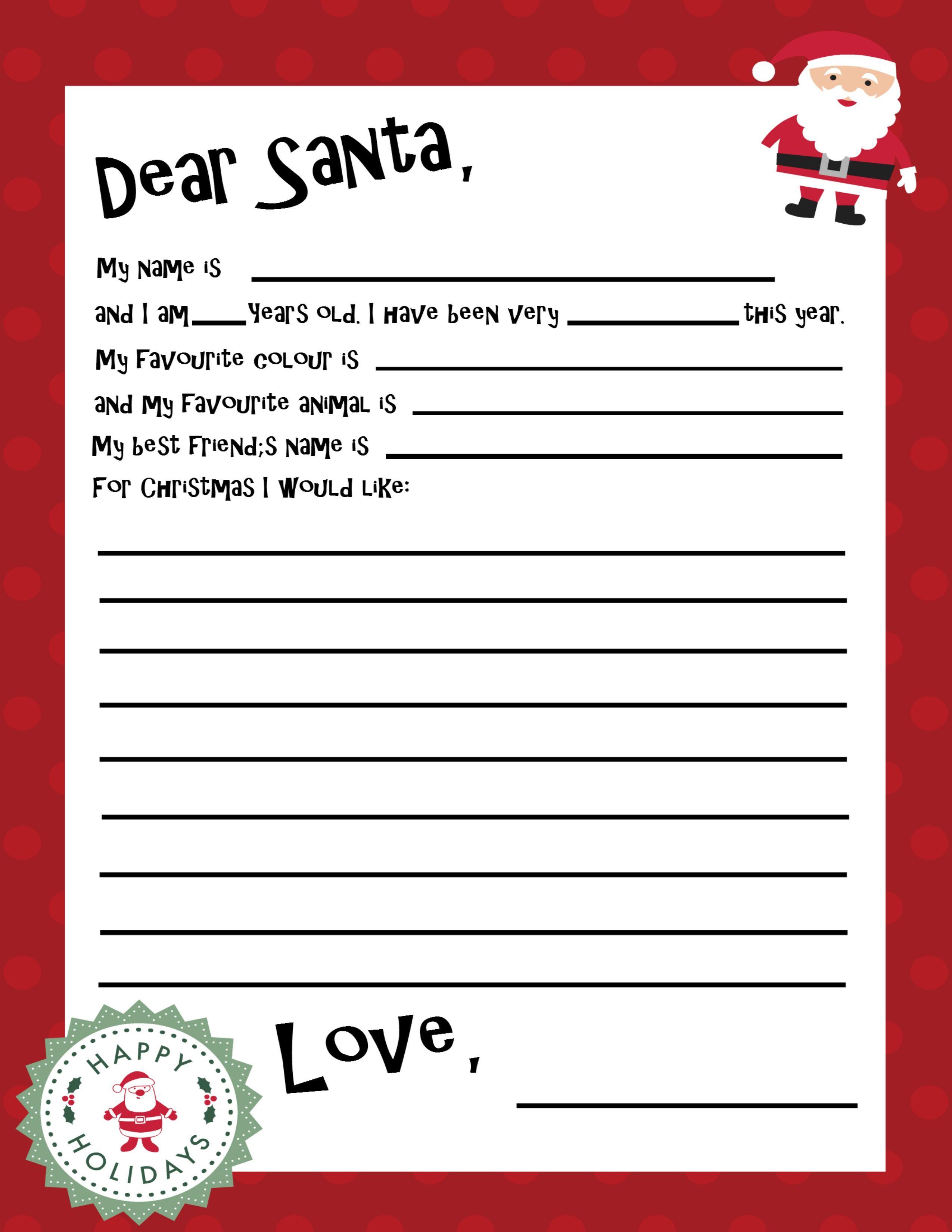 Free Printable Santa Letter Template | Christmas Recipes & Ideas - Free Printable Christmas Letters From Santa