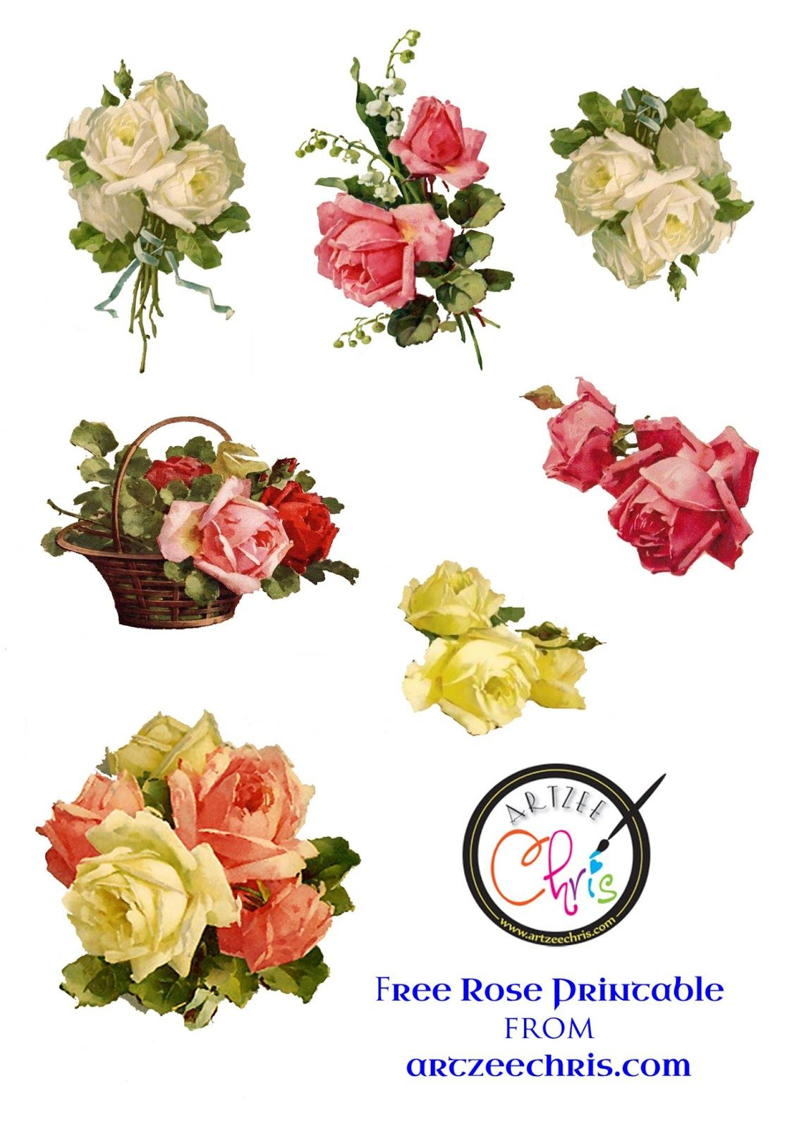Free Printable Scrapbook Cutouts | Free Printable Of Victorian Roses - Free Printable Roses