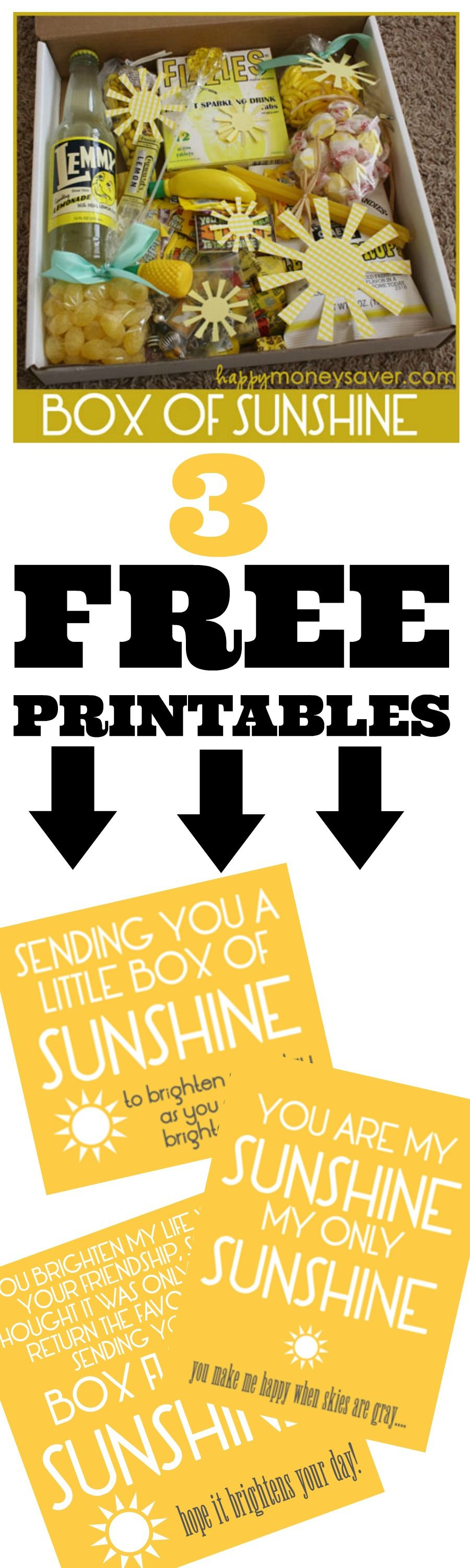Free Printable - Send A Box Of Sunshine To Brighten Someones Day - Box Of Sunshine Free Printable
