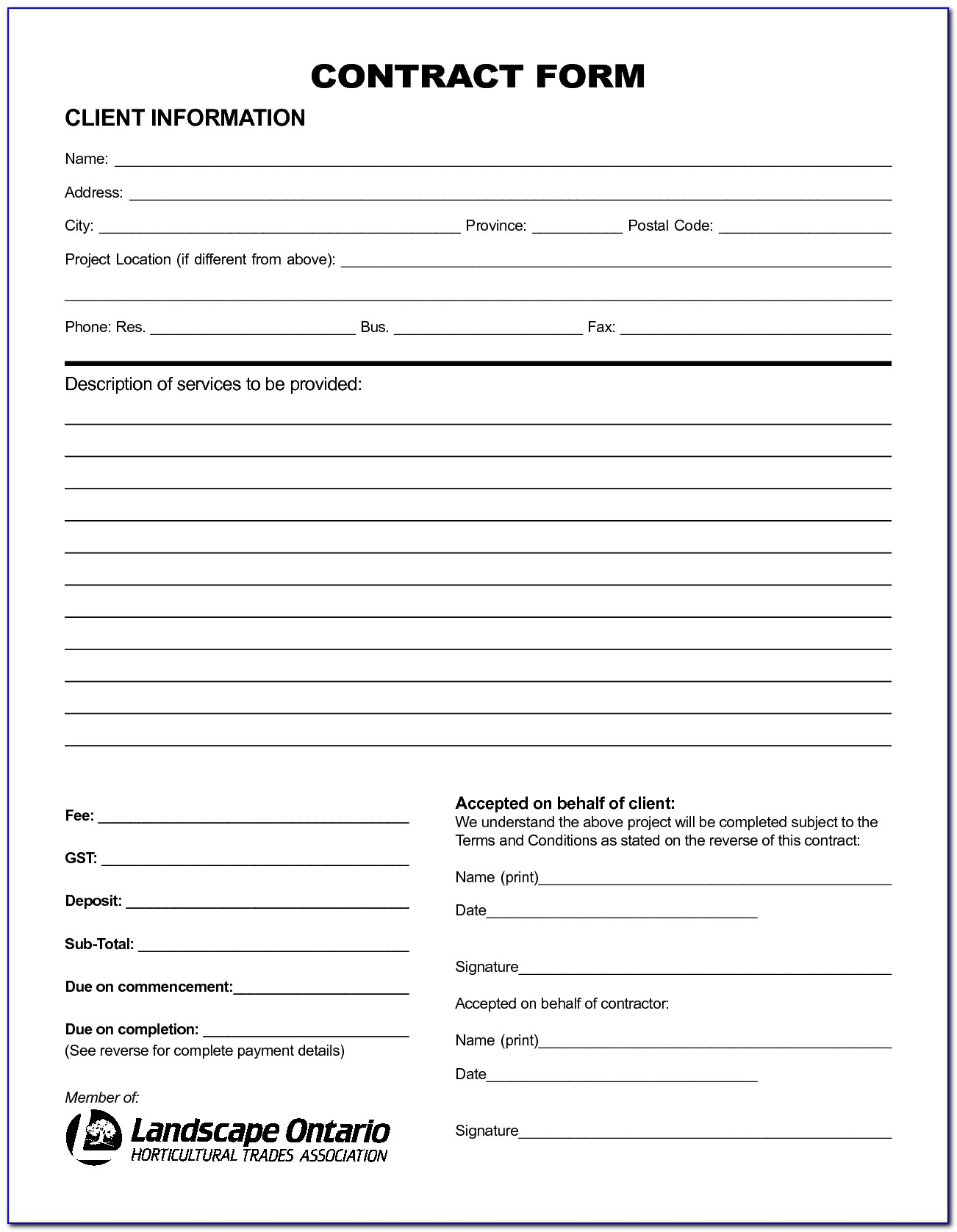 Free Printable Service Contract Forms - Form : Resume Examples - Free Printable Contracts