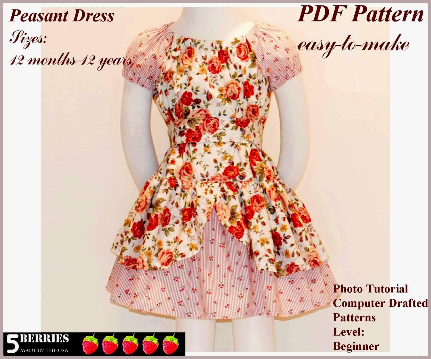 Free Printable Sewing Patterns   Alexandra Girls Dress Sewing - Free Printable Toddler Dress Patterns