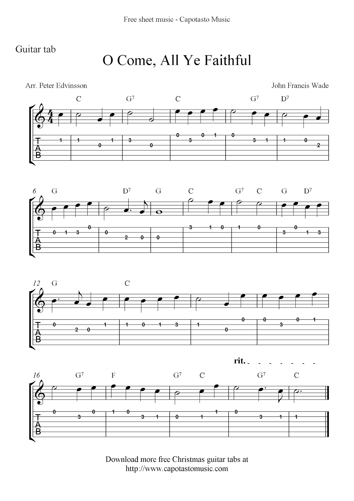 Free Printable Sheet Music: O Come, All Ye Faithful, Easy Free - Free Printable Guitar Music