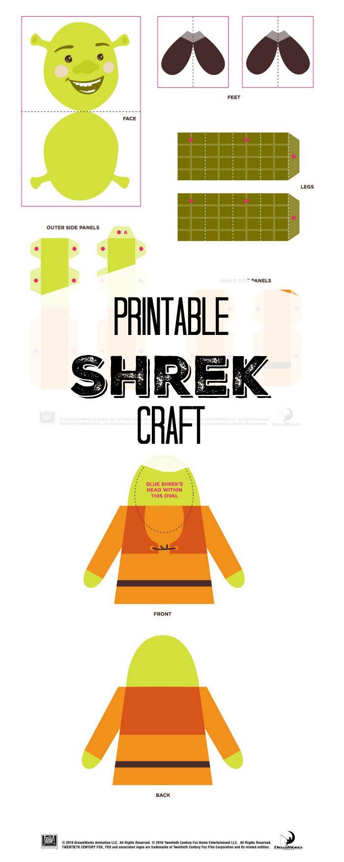 Free Printable Shrek Craft | Diy | Shrek, Free Printables, Crafts - Free Printable Crafts